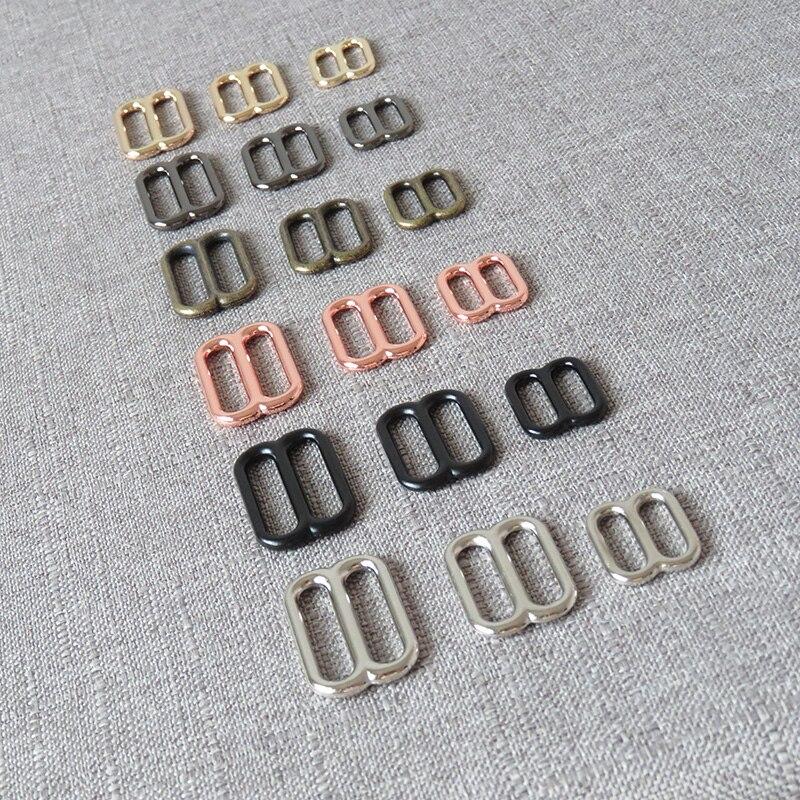 10Pcs 15mm 20mm 25mm Bag Straps Belt Buckle Metal Slider Tri Gliders Adjuster For Webbing Leather Garment Sewing DIY Accessories