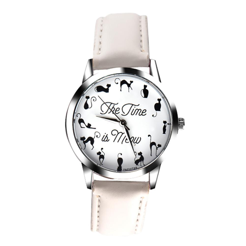 Feminino Ladies' Gifts New Fashion Novelty Cats Letter Dial Quartz Moment Faux Leather Band Couples Wrist Watch Couple Gift
