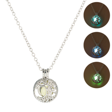 Luminous Life Tree Pendant Necklace Classic Glow In The Dark Stone Necklace Delicacy Silver CHain Jewelry for Men Women Gift Hot silver link luminous stone pendant necklace long chain moon pendant glow in dark hollow women necklace pendants jewelry