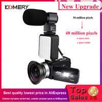 KOMERY 4K Videocamera Video Wifi Della Macchina Fotografica di Visione Notturna LCD Da 3.0 Pollici Touch Screen Time-lapse Fotografia Macchina Fotografica Fotografica con Micr