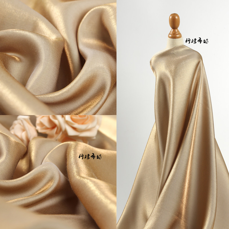 Silk Fabric Silky Dress Wedding Dress Gradient Gold Silk Super Soft High Drape Satin Bright Surface Creative Designer