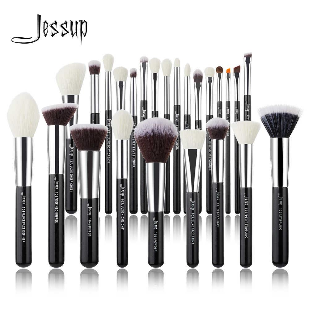 Jessup preto/prata pincéis de maquiagem conjunto profissional com fundação de cabelo natural pó sombra compõem escova blush 6 pces-25 pces