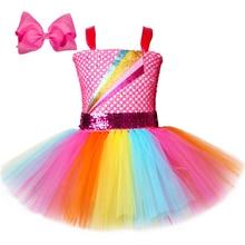 Jojo Siwa Tutu Dress with Hair Bow Rainbow Girls Princess Dress Tulle Kids Tutu Dresses for Girls Holiday Birthday Party Costume