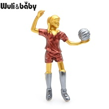 Wuli&baby Red Blue Female Volleyball Enamel Brooches Alloy Women Playing Ball Sporting Casual Brooch Pins