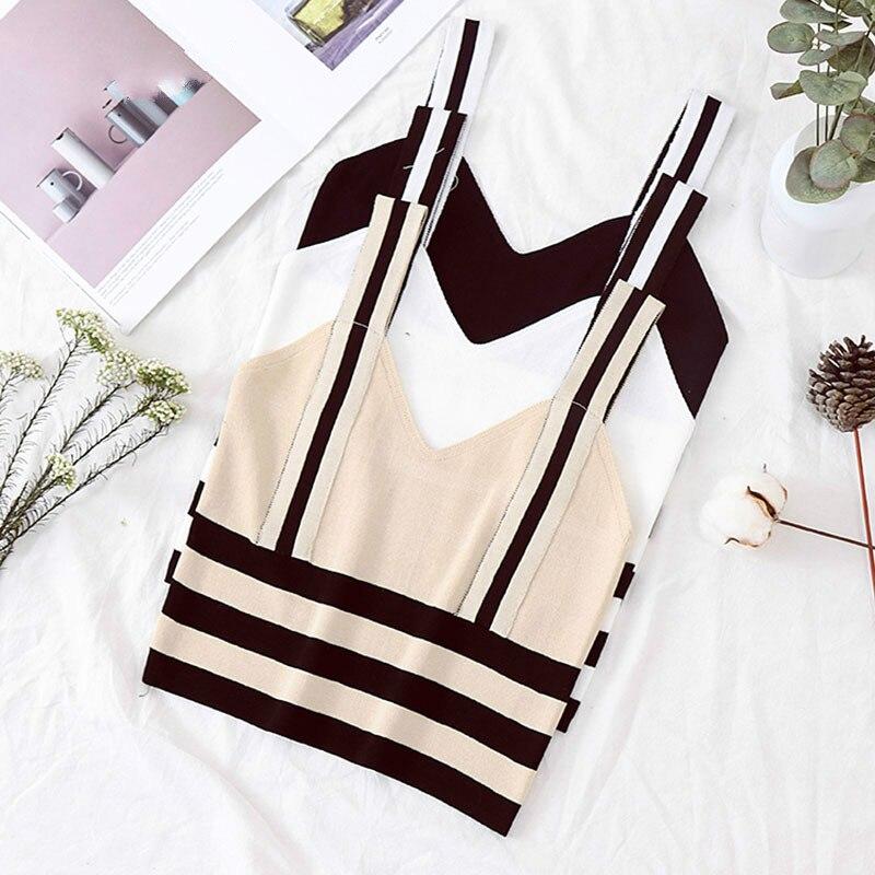 2020 Summer Cotton Woman Crop Tops Female Knitting Chic Crop Top Sexy Striped Spaghetti Halter Top Black Crop Top Femme