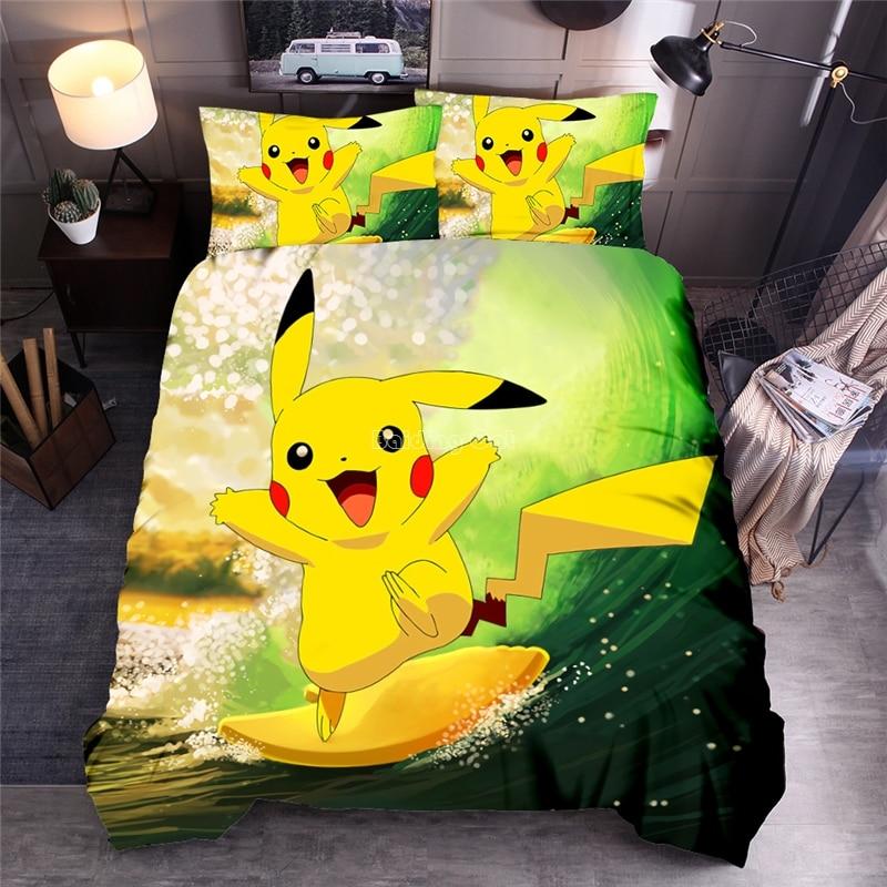 Home Textile Pokemon Bedding Set Children 3d Pikachu Duvet Cover Sets Pillowcase Twin Full Queen King Size Bedclothes Bed Sets