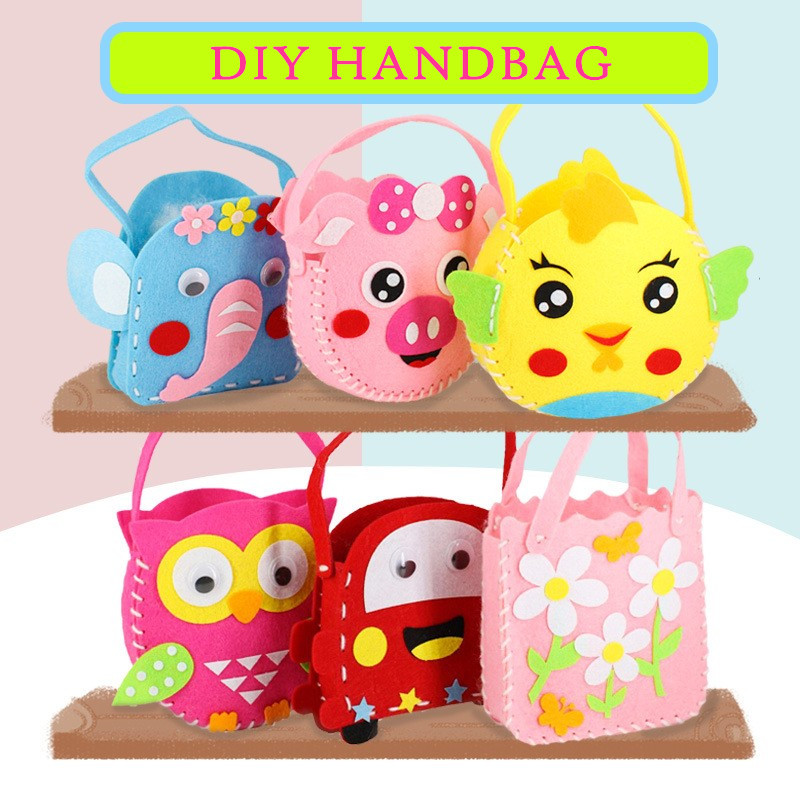 Non-Woven Fabric DIY Handbag Kids Craft Toy Mini Bag Non-woven Cloth Colorful Handmade Bag Cartoon Animal Children Handbags