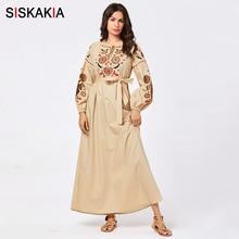 Siskakia Elegant Women Casual Ethnic Long Dress Full Cotton Embroidery Plus Size
