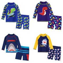 Cute animal Printed Beachwear Kid Baby Boy Long Sleeve Bathing Set Clothes 3D Dinosaur Cartoon Beach Swimwear modis extreme2019(China)