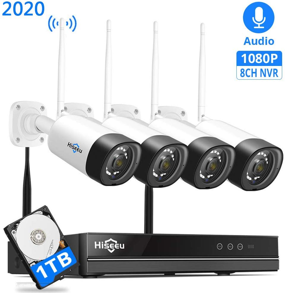 Hiseeu 1080P Audio Wireless Security Camera System 8CH CCTV NVR IP Camera Kit H.265 1T HDD Remote View App Windows