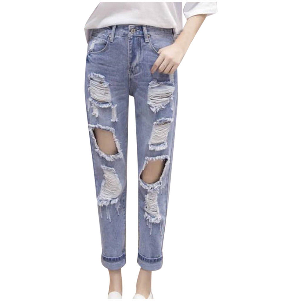 Hole Jeans Ms. Korean Casual Loose Nine-point Trend Jeans Were Thin Harlan Pure Color Temperament Wild Slim Slim Jeans #XM