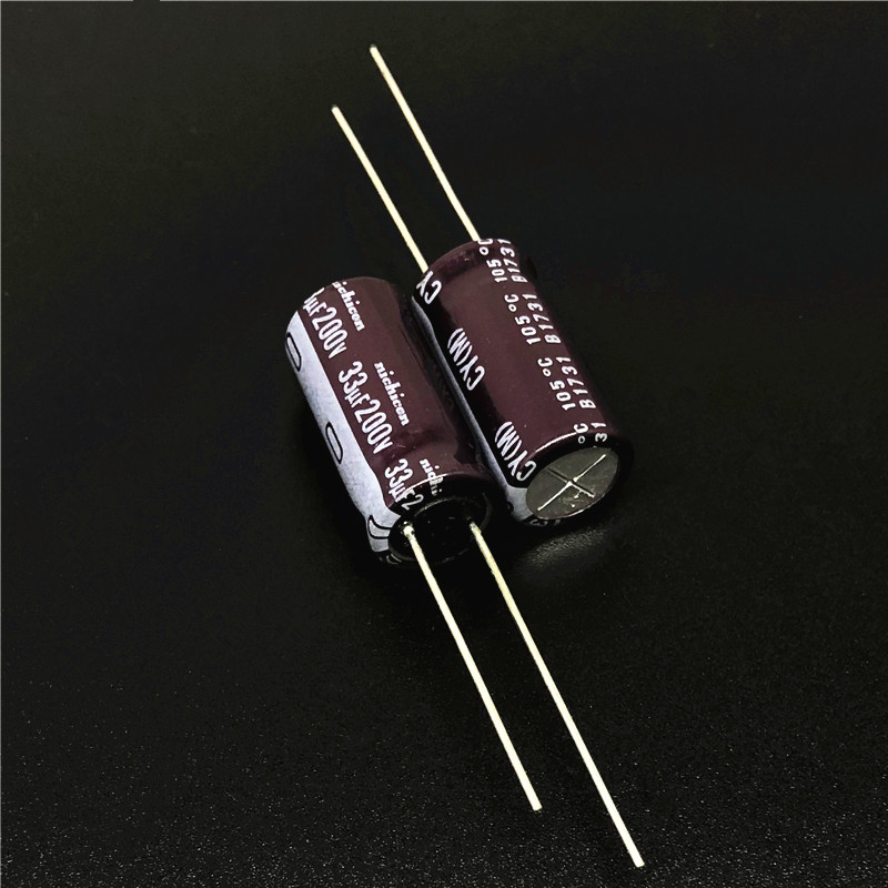 5Pcs/50Pcs 33uF 200V NICHICON CY Series 10x20mm High Ripple Current Long Life 200V33uF Aluminum Electrolytic Capacitor