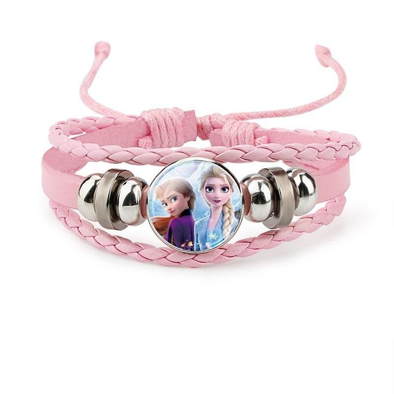 Frozen Girl Leather bracelet Princess Series Wristband Adjustable length Children's dress up bracelet child Christmas gifts