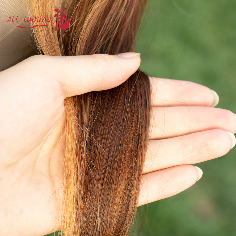 13X4 Lace Front Wig  Straight Highlight Wig  Wigs Pre Pluck With Baby Hair Ombre  Wig 4