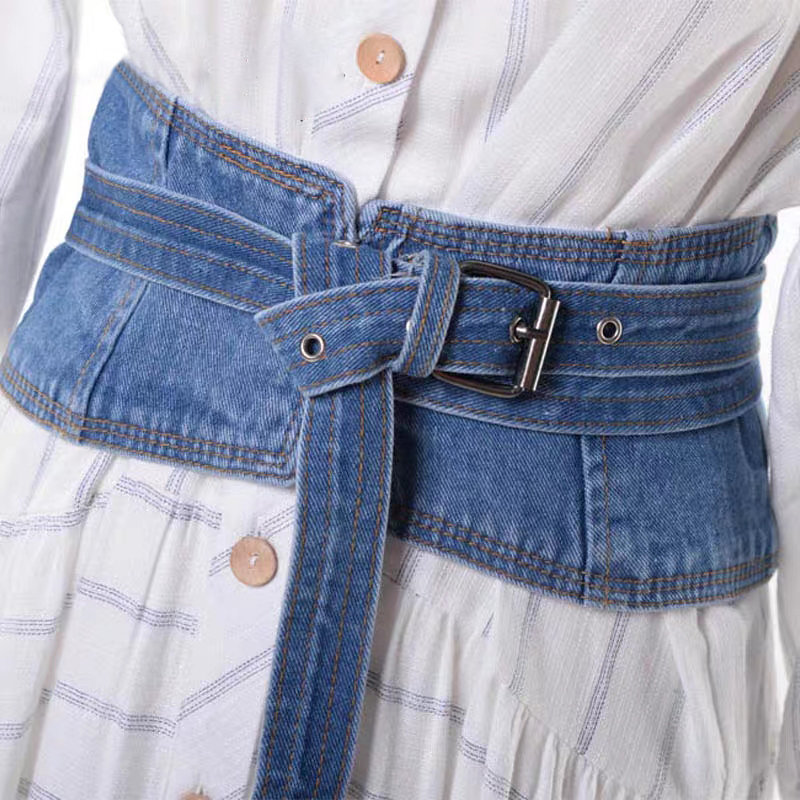 Fashionable And Simple Wild Denim Waist Seal Lace Female Decorative Ins Wind With Skirt Shirt Tied Wide Belt Belt