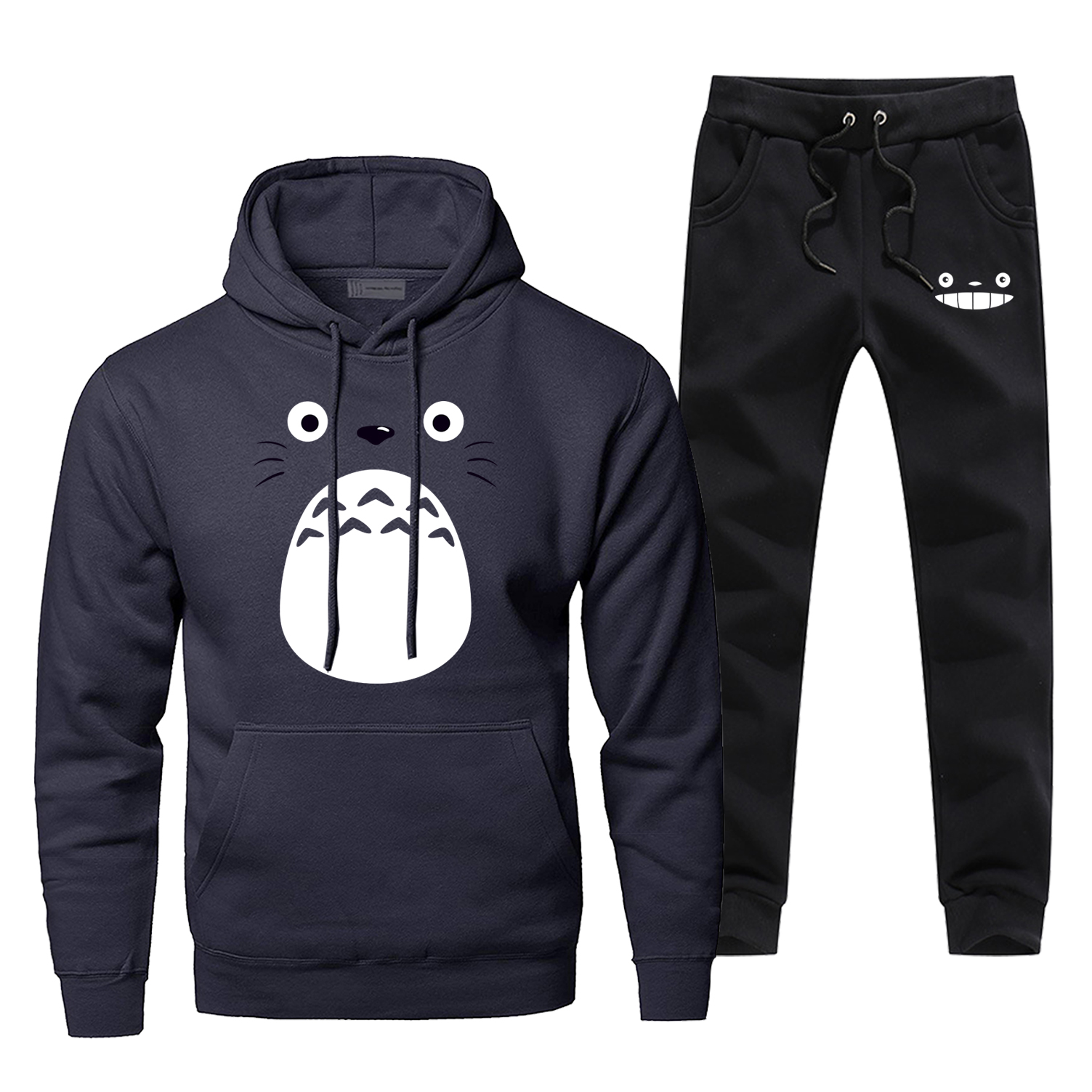 Japan Anime Men's Full Suit Tracksuit Fashion Casual Tonari No Totoro Sportsman Wear Winter Bodywarmer Pants Sweatshirt Sets