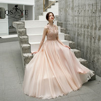 QSYYE 2019 New Arrival Long Prom Dresses Robe de Soiree Beading Top V Neck Floor Length Tulle Formal Evening Dress Party Gown