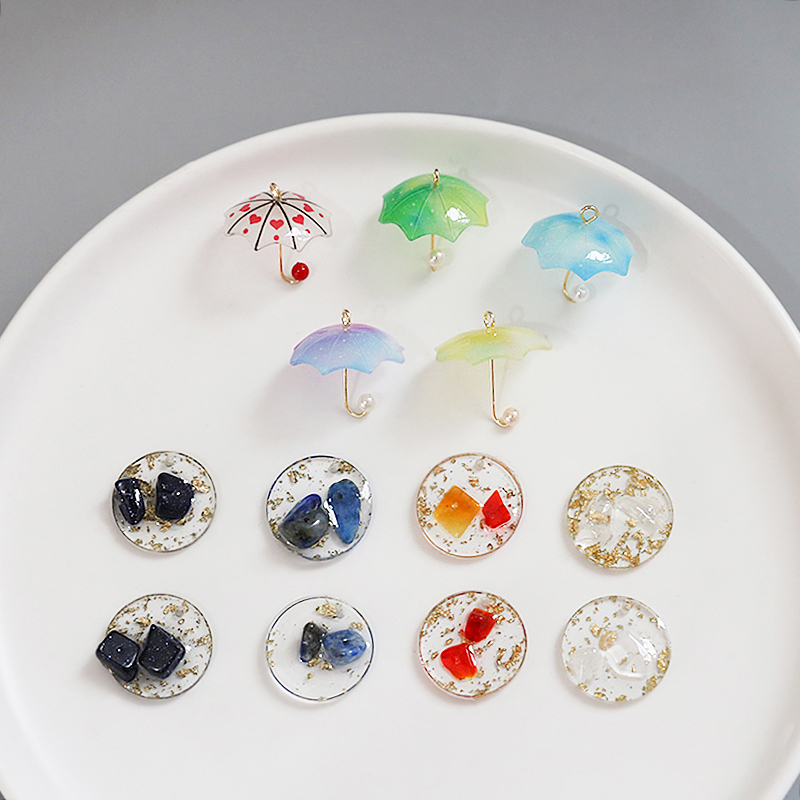 6pcs Pearl Umbrella Fun Pendant Resin Gold Foil Transparent Circle Perforable Earrings For Women Fashion DIY Jewelry Findings