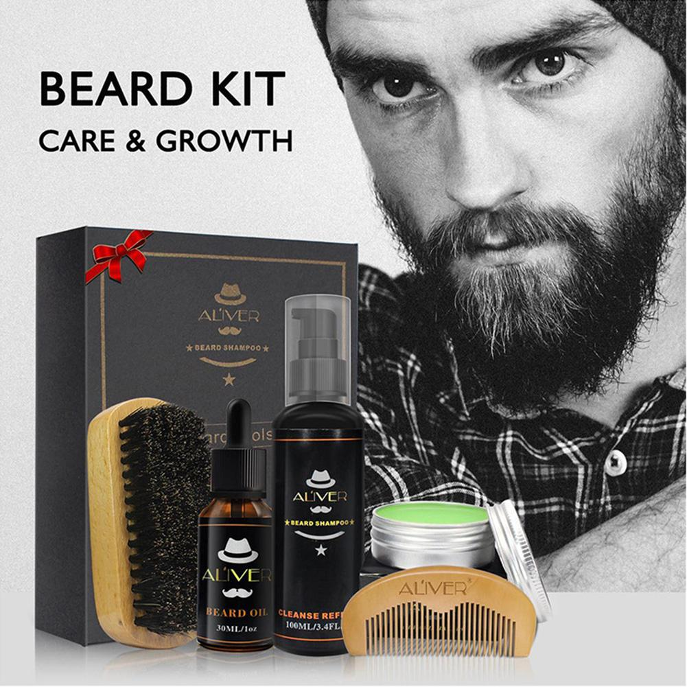 Blue ZOO 5Pcs/Set Men Beard Grooming Set Beard Moisturizing Toner Comb Essence Styling Scissor Set Beard Care Product