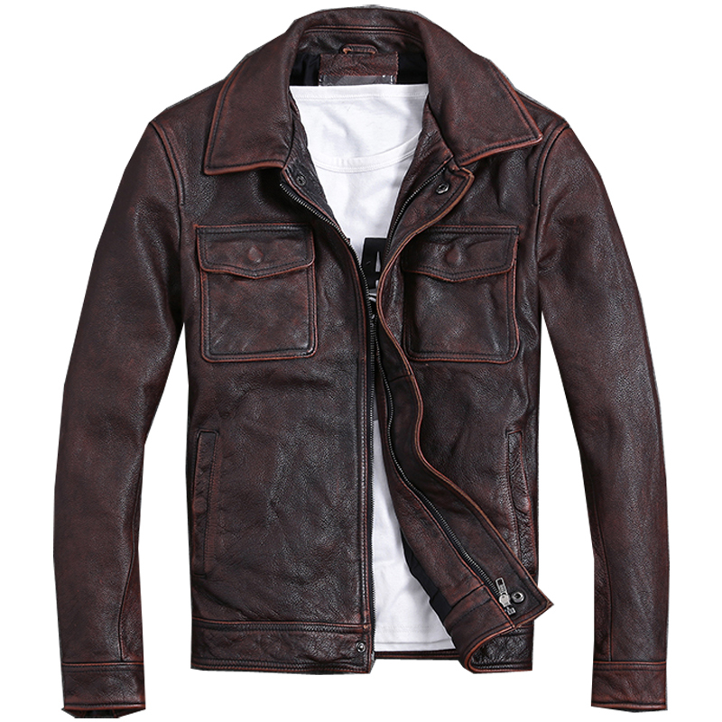 Free Shipping.Plus Size Classic Jacket,short Genuine Coat,vintage Brown Mens Slim Leather Coat.business,sales