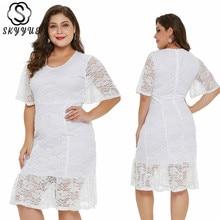 Skyyue Evening Dress 2019 Solid Short Robe De Soiree Plus Size Half-sleeve Lace Women Party Dresses Elegant Formal Gowns T028