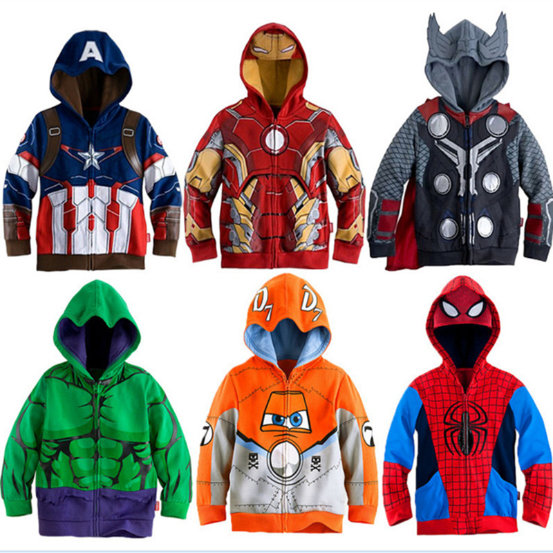 Boys Hoodies Avengers Marvel Superhero Iron Man Thor Hulk Captain America Spiderman Hoodies
