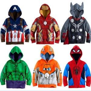 Boys Hoodies Avengers Marvel Superhero Iron Man Thor Hulk Captain America Spiderman Sweatshirt for Boys Kid Cartoon Jacket 2-7T(China)