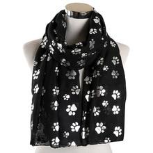 2019 Fashion Cat Dog Paw Print Scarf Women Foil Sliver Bronzing Black Beach