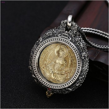S925 pure silver  Ninth Palace Eight Diagrams Chinese Zodiac  Thai silver Yellow God of wealth turn Pendant for men and women