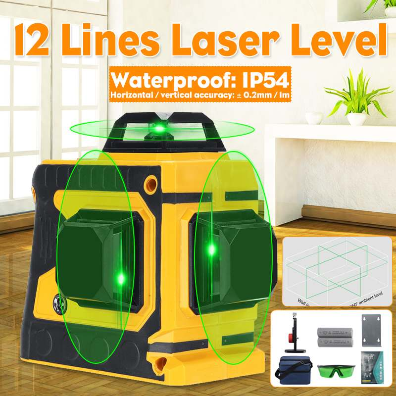 12 Green Lines Laser Level 3D 360 Adjustable Self-Leveling Horizontal Vertical Cross Waterproof Outdoor Powerful Beam