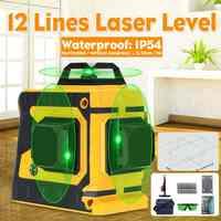 12 Linee di Livello del Laser verde 3D 360 Regolabile Self-Leveling Orizzontale Verticale Croce Esterna Impermeabile Potente Fascio di Luce