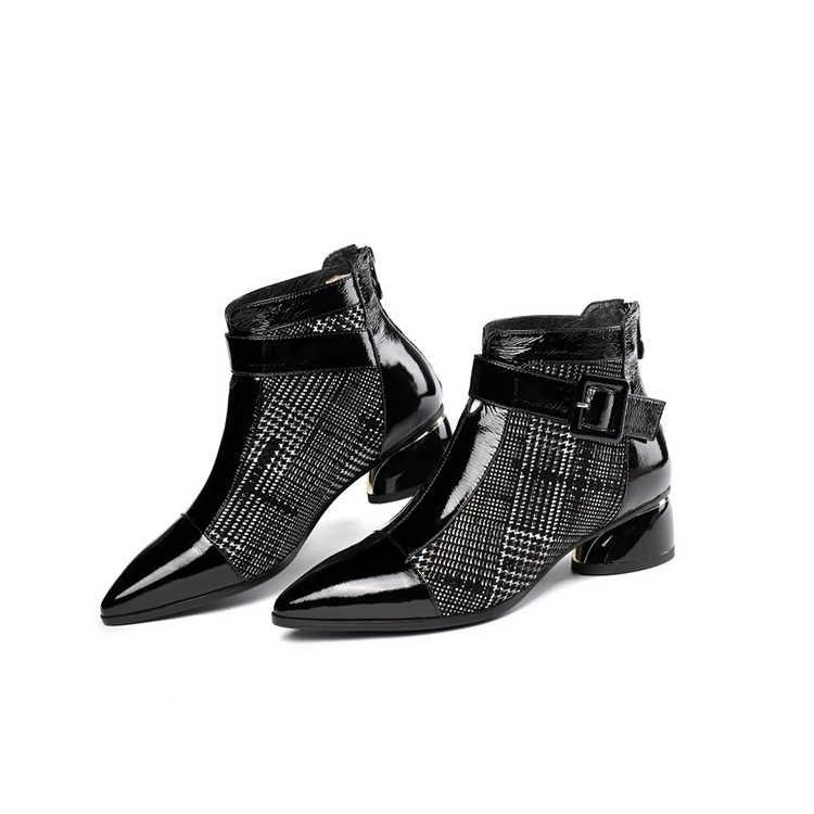 MLJUESE 2020 kadın yarım çizmeler inek deri sivri burun şemsiye toka kayış kış kısa peluş yüksek topuklu kadın çizmeler boyutu 42