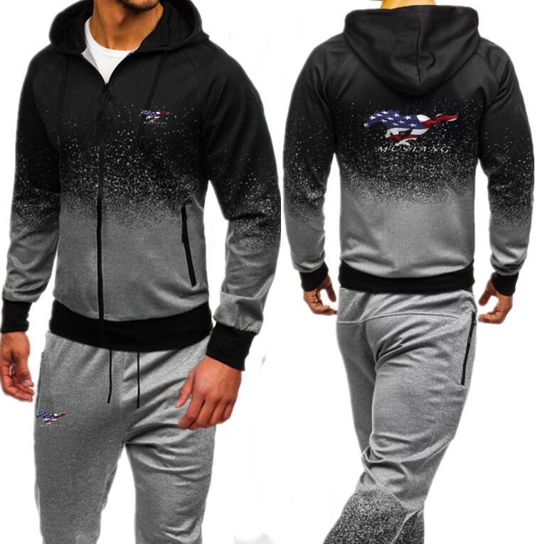 U.S. flag Mustang Tracksuit For Men Set New Fashion Jacket Sportswear Men Hoody Spring Autumn Men Clothes Hoodies+Pants