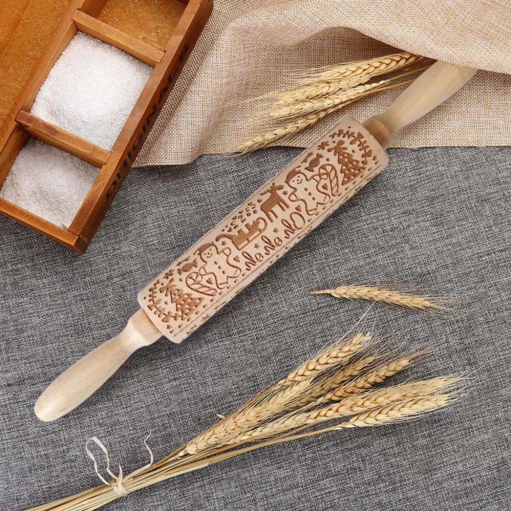 Textured Non-Stick Designs Wooden Embossed Rolling Pin for Cookies/Biscuit/Fondant Cake 12