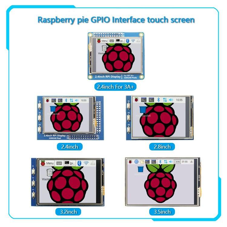 Gpio series 3.2 polegadas/2.8/3.2/3.5 polegadas, 2.4 polegadas/2.8 polegadas/3.2 3.5 tela de toque polegadas para raspberry pi 4b 3b b +
