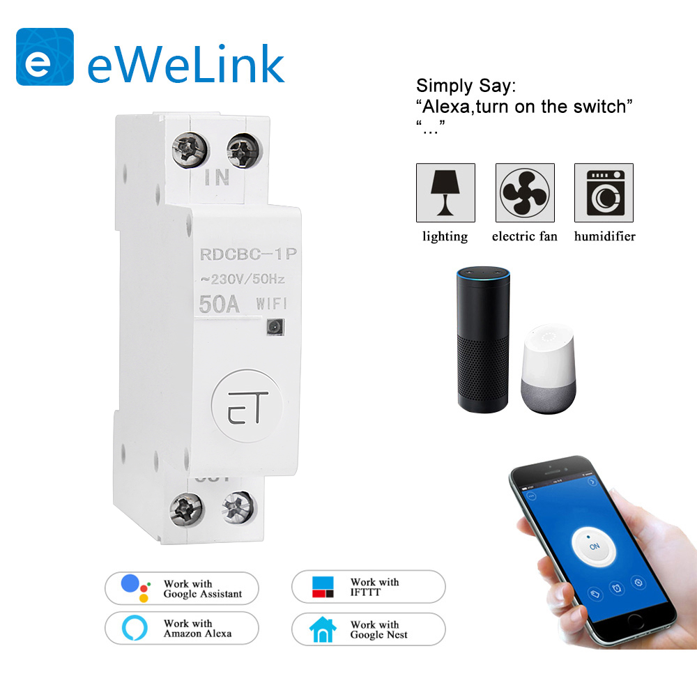 eWelink 1P WiFi remote control circuit breakerSmart din rail switch compatiable with amazon Alexa and google home for Smart Home 1
