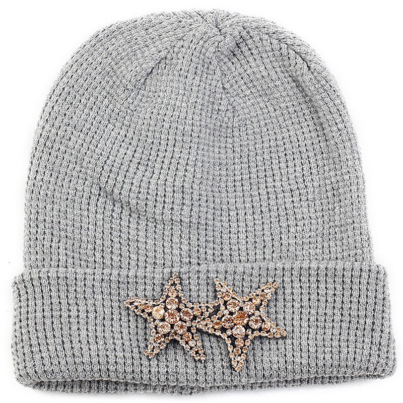 Geebro Cashmere Knitted Winter Warm Skullies Beanies Pullover Cuff Hats With 2 Diamonds Stars Rhinestone Accessories Caps Bonnet