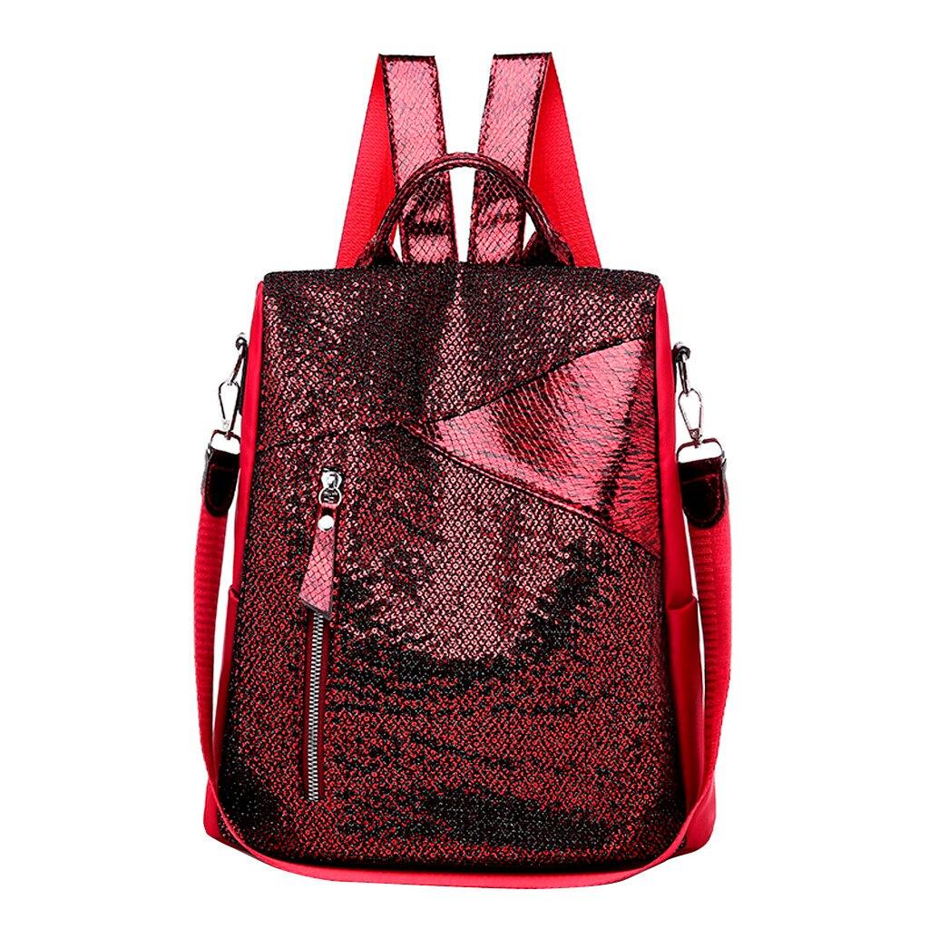 Women Shiny Backpacks Vintage Female Shoulder Bag Sac A Dos Travel Ladies Bagpack Mochilas School Bags For Girls Preppy 2019