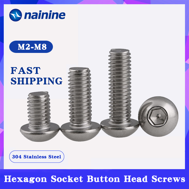 10/20/50Pcs M2 M2.5 M3 M4 ISO7380 304 Stainless Steel A2 Round Head Screws Mushroom Hexagon Socket Button Head Screw HW016