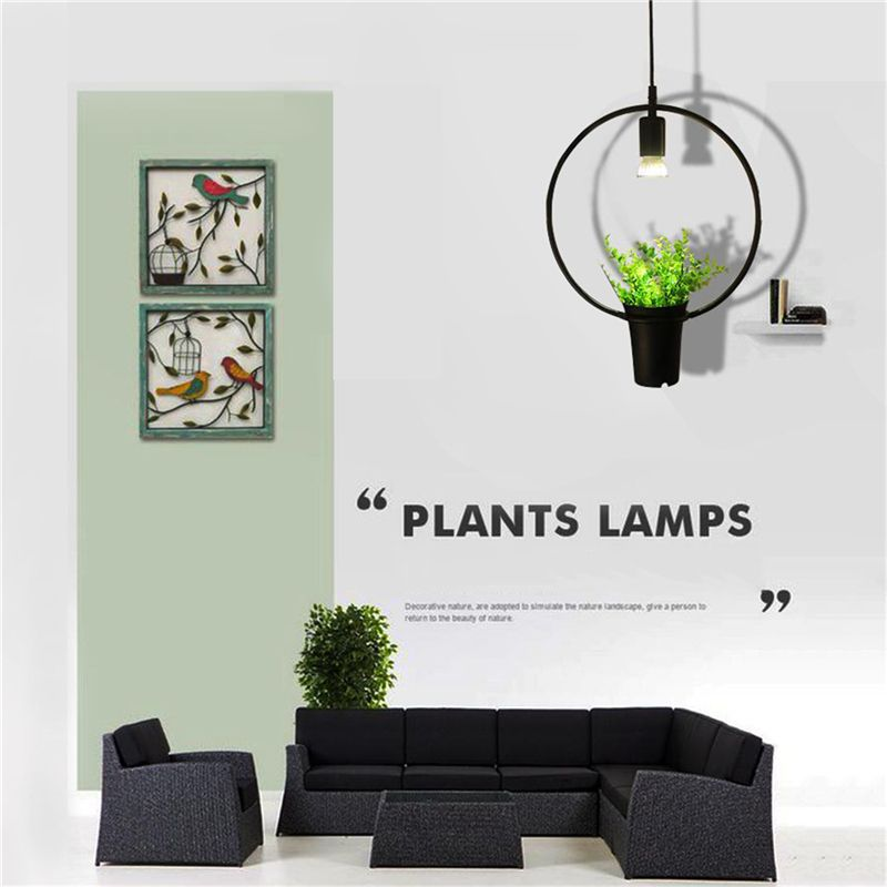Black Ring Green Plant Hanging Lamps Retro Industrial Wind Creative Personality Chandelier Clothing Shop Cafe Restaurant Light N