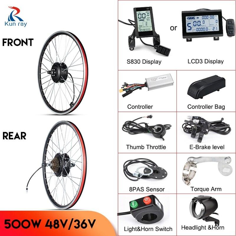 Моторное колесо Kunray 500 Вт, комплект для электровелосипеда 48 В, комплект для переоборудования электровелосипеда 36 В, комплект для электровел...
