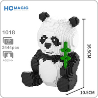 HC 1018 Cartoon Bear Cat Panda Animal Pet 3D Model 2444pcs DIY Diamond Mini Building Small Blocks Bricks Assembly Toy no Box