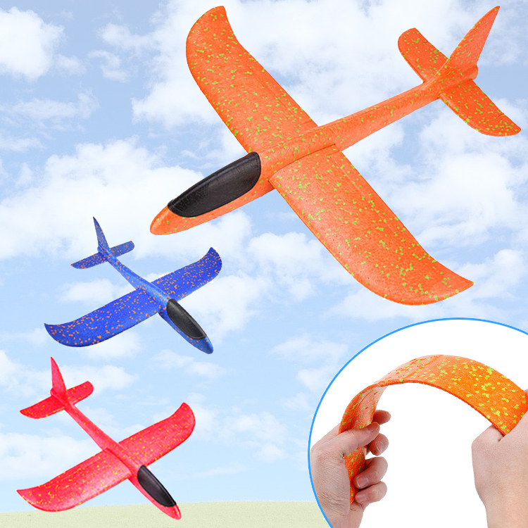 Airplane Glider Foam Toys Hand Throw Fly Glider Planes Foam Aeroplane Kids Gift Toys 48*47cm Random 1pc/set 2020 NEW image