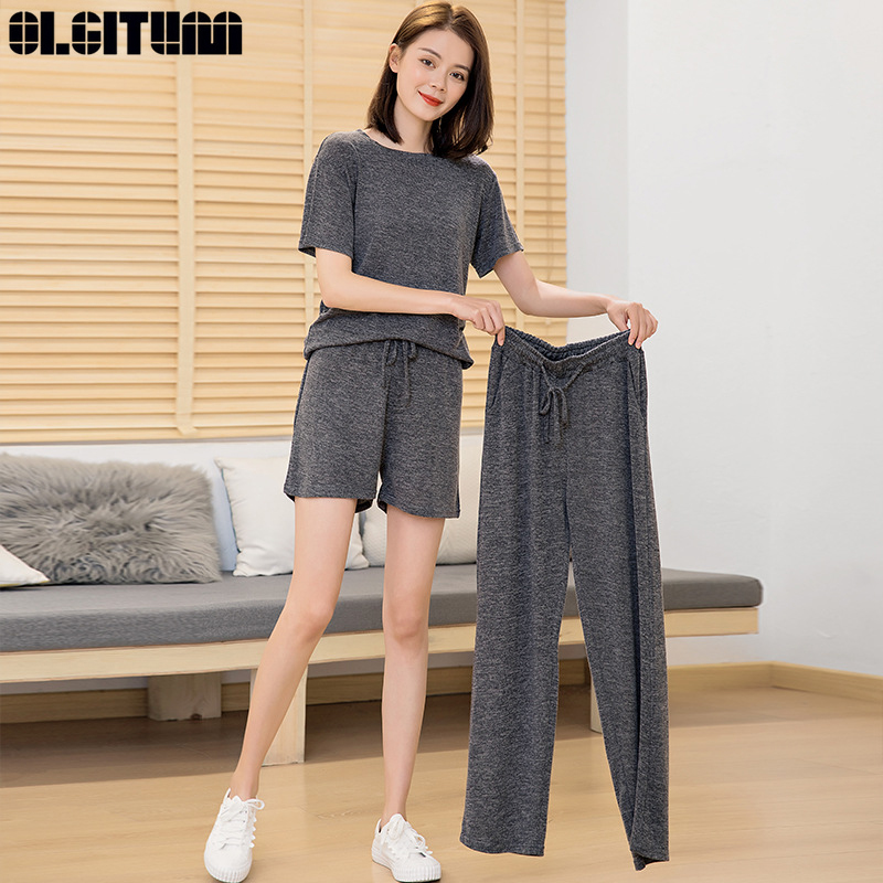 2020 Lazy Three-Piece Set Two-Piece Firy House Girlfriends Suit Home Comfortable Short-Sleeved Cotton Casual Wild Lazy Suit