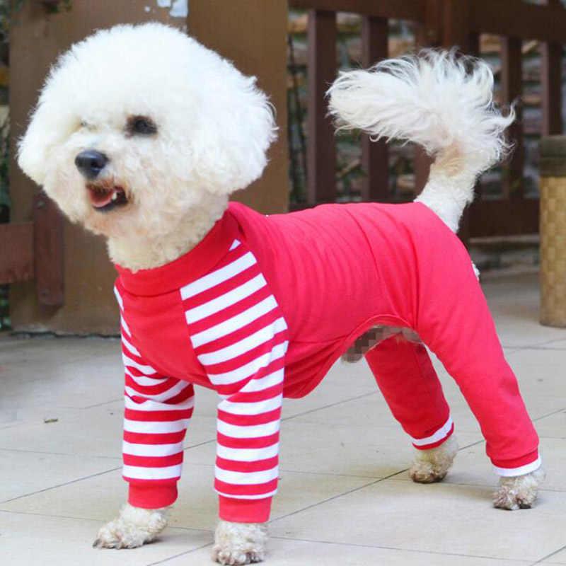 W paski Pet Dog piżama cztery stopy kombinezon dla małych średnich psów bielizna nocna Puppy Chihuahua Pjs XS S M L XL dla zwierząt domowych