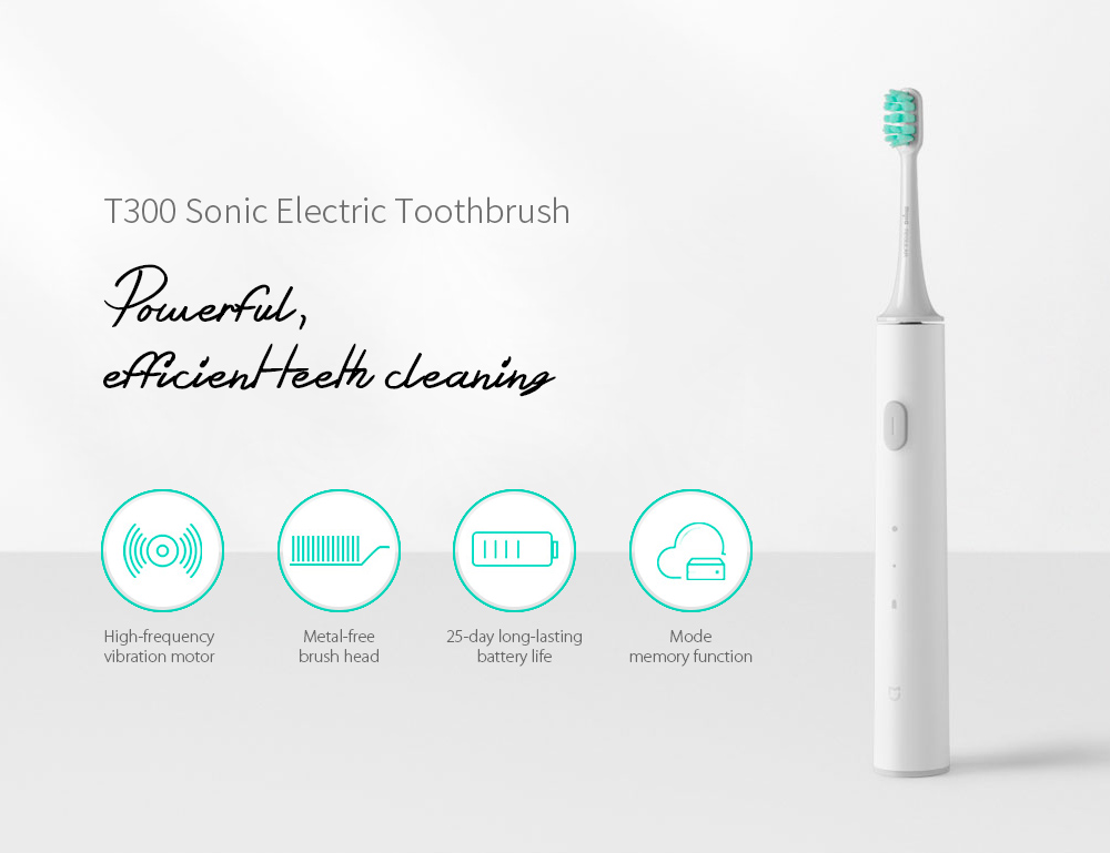 Xiaomi Mijia T300 Sonic Electric Toothbrush USB Rechargeable Adult Ultrasonic Tooth Brush Deep Clean Waterproof with 4pc heads