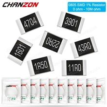 100 шт. SMD 0805 резисторы 0 - 10M Ohm 1/8 W Watt 1% Высокоточный пленочный чип с фиксированным сопротивлением 1K 10K 4R7 4,7 K 100K 2K2 220K 300K
