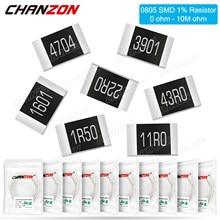 Resistência fixa da microplaqueta do filme da elevada precisão 1k 10k 4r7 100k 0805 k 2k2 1/8 k 1% k 4.7k 100 resistores 0-10m ohm 220 w dos pces 300