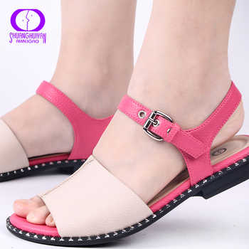 AIMEIGAO New Arrivals Soft Leather Casual Sandals Women in Flat Sandals Comfortable Flats Heels Women Ladies Sandals Shoes - DISCOUNT ITEM  55% OFF All Category