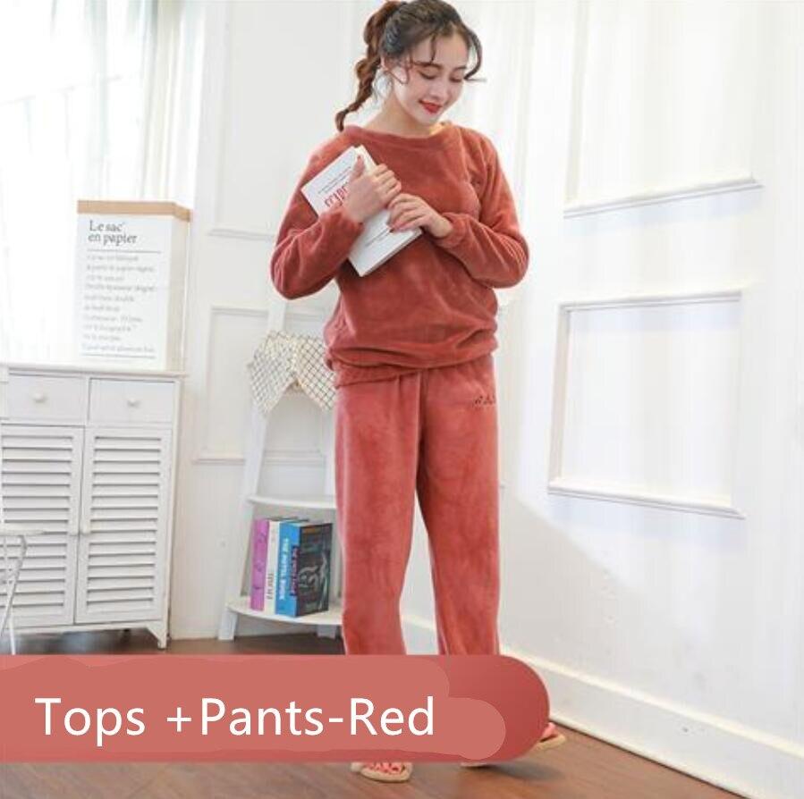 Зимние фланелевые длинные штаны для сна; Толстая Теплая Повседневная Домашняя одежда; повседневные пижамные брюки; мягкие свободные брюки; одежда для сна - Цвет: Tops pants-R